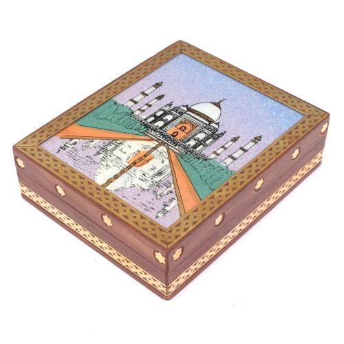WOODEN TAJMAHAL GEMSTONE BOX