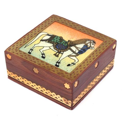 WOODEN HORSE GEMSTONE BOX