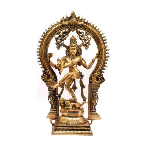 BRASS NATARAJ IDOL WITH ANTIQUE FINISH