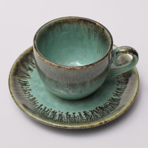 CERAMIC TEA CUP AND SAUCER HANDMADE