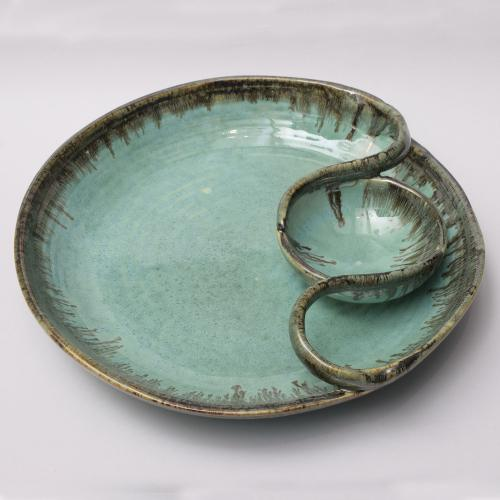 CERAMIC CHIP AND DIP PLATTER HANDMADE