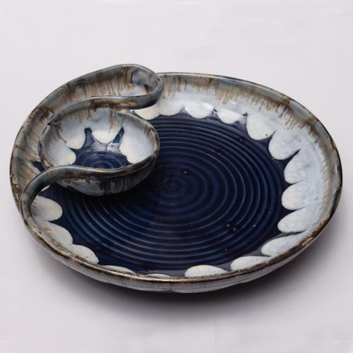 CERAMIC CHIP AND DIP PLATTER HAND MADE