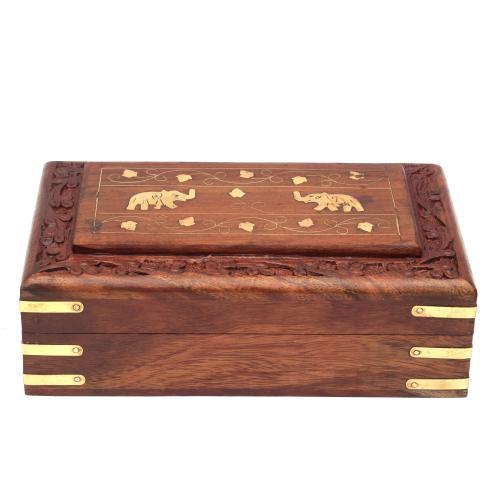 SHEESHAM WOOD JEWELLERY BOX ELEPHANT