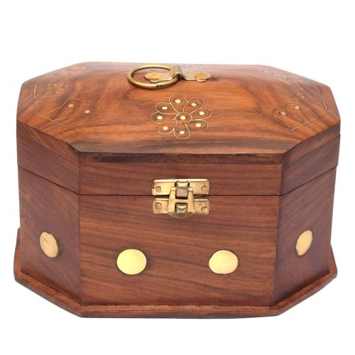 SHEESHAM WOOD JEWELLERY BOX BRASS CARVING BIG