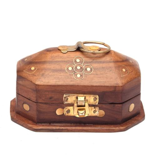 SHEESHAM WOOD JEWELLERY BOX BRASS CARVING SMALL