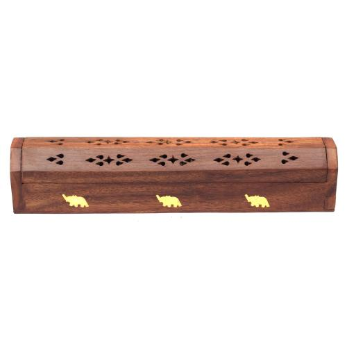 SHEESHAM WOOD INCENSE HOLDER MOON & STARS