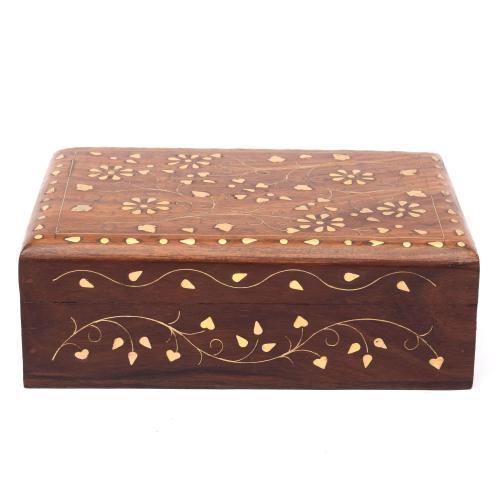 SHEESHAM WOOD JEWELLERY BOX WITH BRASS COATED