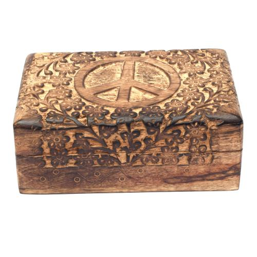 MANGO WOOD JEWELLERY BOX ANTIQUE  PEACE DESIGN