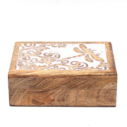 MANGO WOOD JEWELLERY BOX ANTIQUE  BUTTERFLY DESIGN