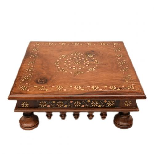 ETHINIC WOODEN CARVED CHOWKI FOR HOME DECOR