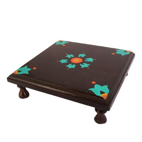 DECORVATIVE HAND PAINTED WOODEN CHOWKI