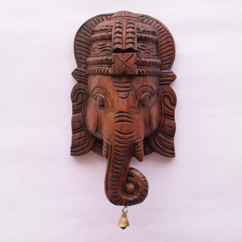 VAAGAI WOOD GANESHA MASK SCULPTURES