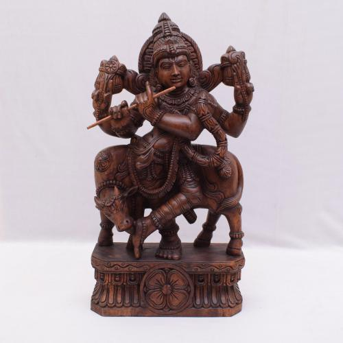 VAAGAI WOOD  KRISHNA WITH COW SCULPTURES