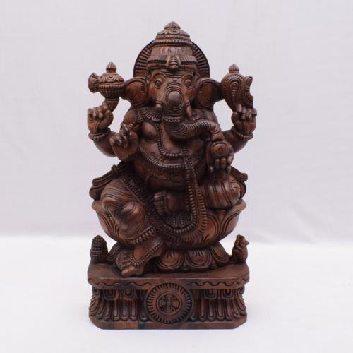 VAAGAI WOOD SCULPTURES LOTUS GANESHA
