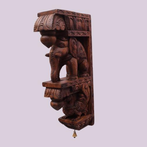 VAAGAI  WOOD ELEPHANT BRACKETS SCULPTURES