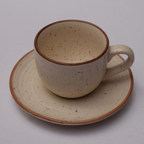CERAMIC CUP AND SAUCER HANDMADE
