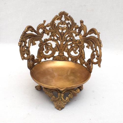 BRASS SCULPTURES HANDMADE CARVED NANDHA DEEPA WITH ANTIQUE FINISH