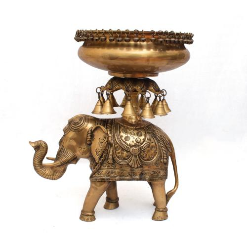 BRASS SCULPTURES HANDMADE ELEPHANT URLI WITH BELLS