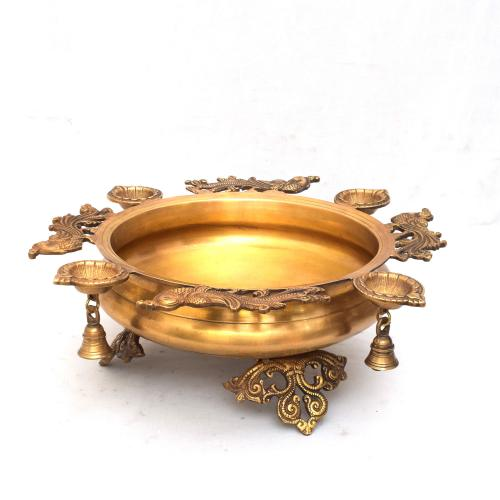 BRASS SCULPTURES HANDMADE PEACOCK URLI DIYA WITH BELLS
