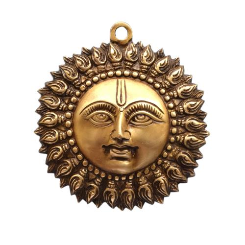 BRASS SUN WALL PLATE WITH ANTIQUE FINISH