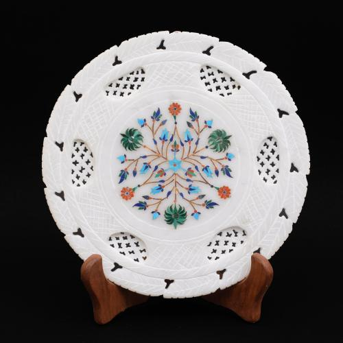 MARBLE FLOWER PLATE WITH INLAY STONE WORK