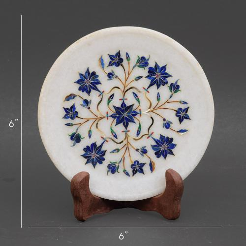 MARBLE PLATE WITH INLAY STONE WORK