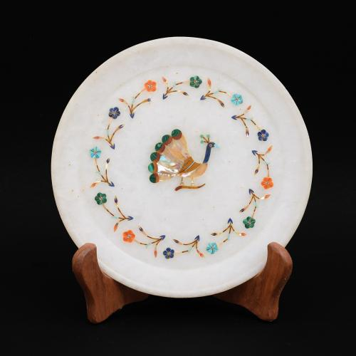 MARBLE PLATE WITH PEACOCK INLAY STONE WORK