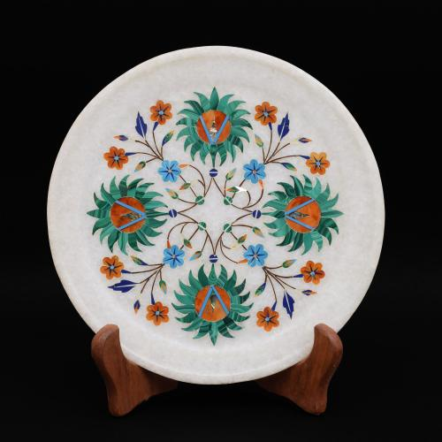 MARBLE PLATE WITH FLOWER INLAY WORK