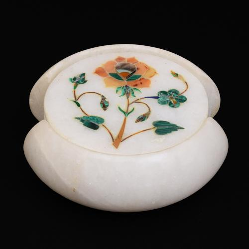 MARBLE COASTER WITH FLOWER INLAY