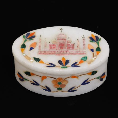MARBLE JEWELLERY BOX WITH TAJ