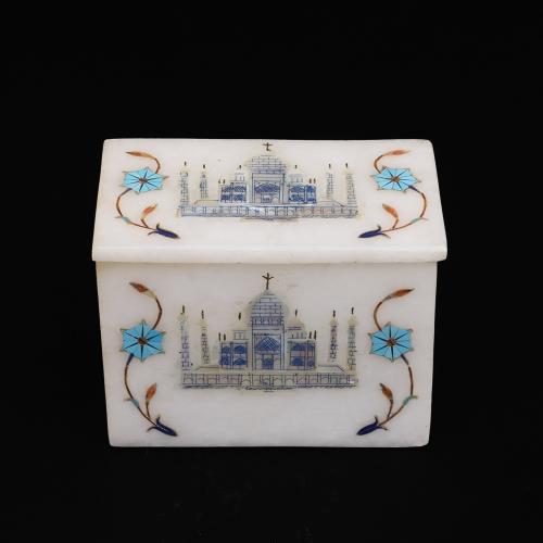 MARBLE JEWELLERY BOX WITH TAJ