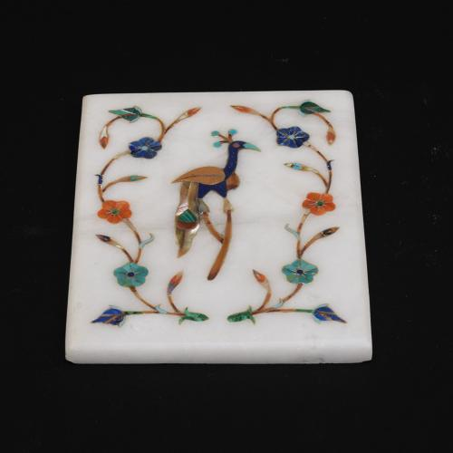 MARBLE PEACOCK PAPER WEIGHT WITH  INLAY STONE WORK