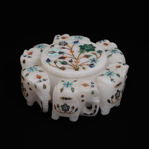 MARBLE ELEPHANT JEWELLERY BOX WITH INLAY  STONE WORK