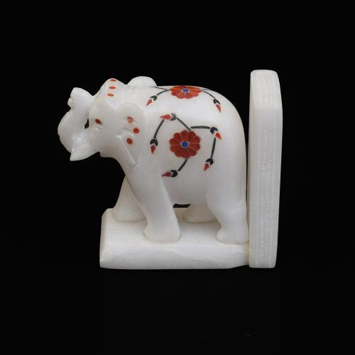 MARBLE ELEPHANT  BOOKEND WITH INLAY STONE WORK