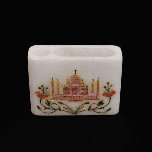 MARBLE CARD STAND WITH INLAY STONE WORK