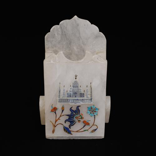MARBLE PEN STAND WITH INLAY STONE WORK