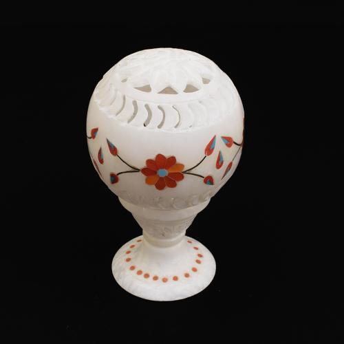 MARBLE CARVED JALLI  BALL WITH  INLAY STONE WORK