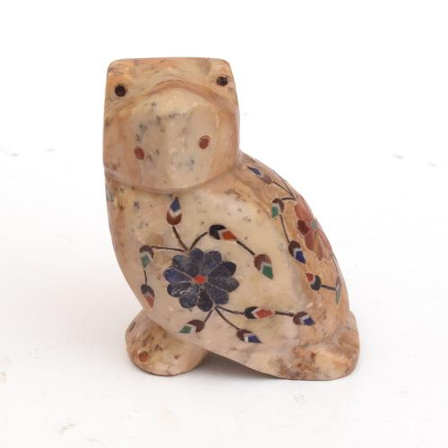 MARBLE OWL WITH   INLAY STONE WORK