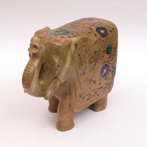 MARBLE ELEPHANT  WITH  INLAY STONE WORK