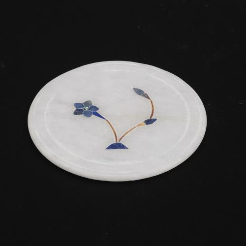 MARBLE COASTER  WITH INLAY STONE  WORK