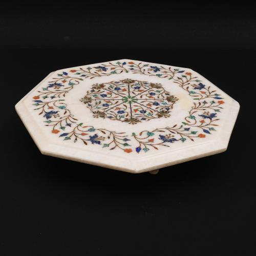MARBLE CHOWKI WITH INLAY STONE  WORK