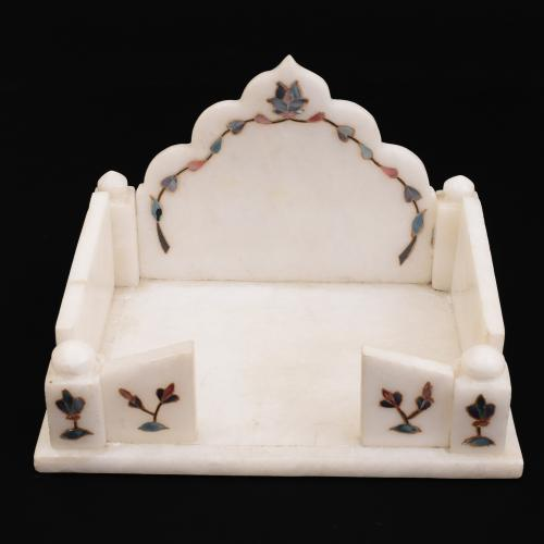 MARBLE SINGHASAN WITH  INLAY STONE WORK