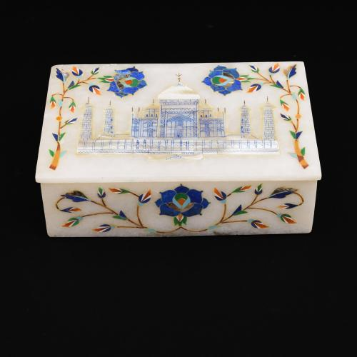MARBLE JEWELLERY BOX WITH  INLAY  STONE WORK