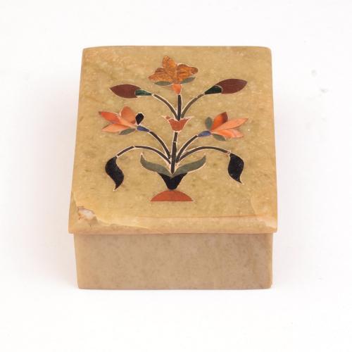MARBLE JEWELLERY BOX  WITH INLAY STONE WORK