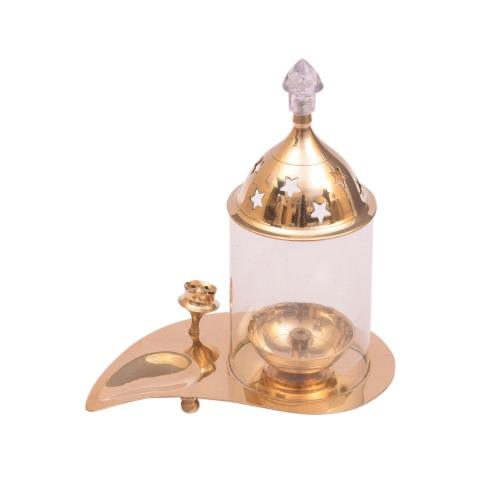 BRASS LEAF DIYA WITH INCENSE HOLDER