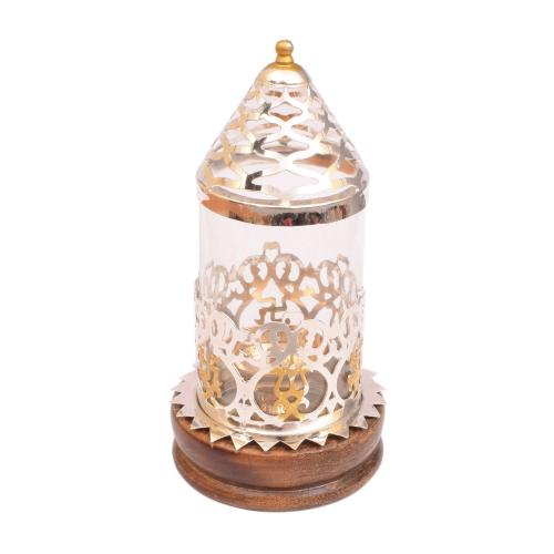 BRASS JALI DIYA WITH WOODEN BASE