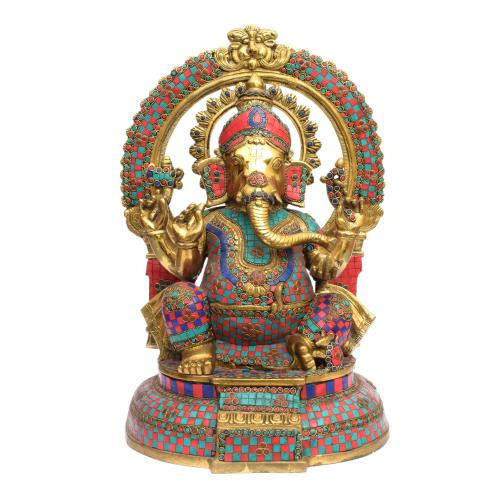 BRASS GANESHA IDOL SITTING ON BASE