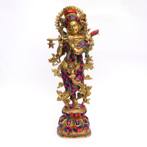 BRASS KRISHNA IDOL WITH STONE WORK
