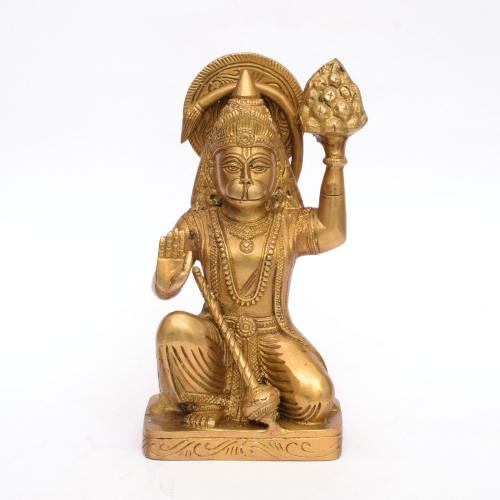 BRASS HANUMAN WITH SANJEEVINI MOUNTAIN IDOL