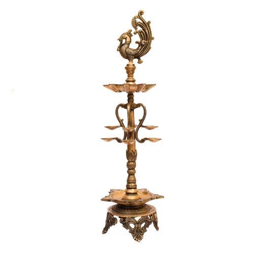 BRASS PEACOCK OIL LAMP